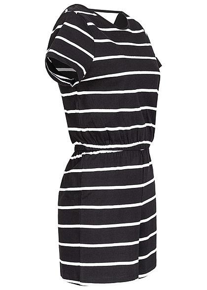 ONLY Damen V-Neck Jersey Playsuit Taillengummibund Streifen Muster schwarz weiss