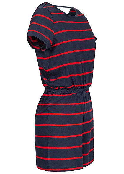 ONLY Damen V-Neck Jersey Playsuit Taillengummibund Streifen Muster navy blau rot