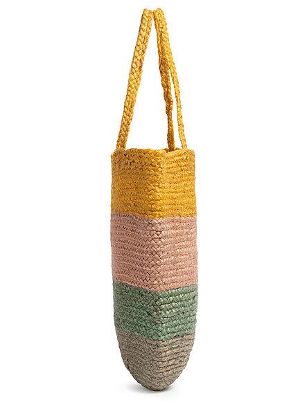 ONLY Damen Colorblock Jute Shopper Handtasche 43x44cm misted gelb rosa grün