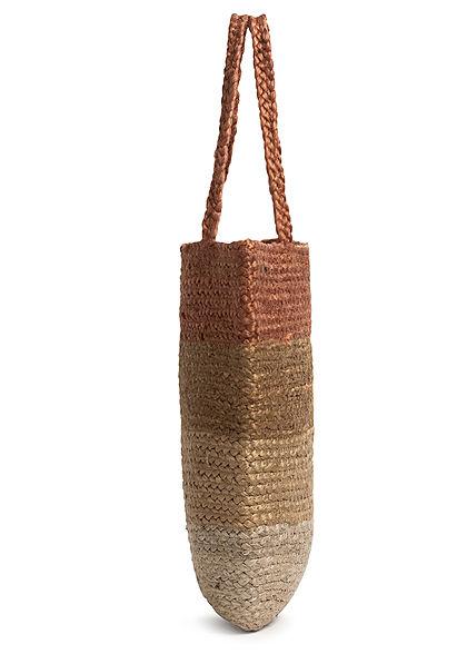 ONLY Damen Colorblock Jute Shopper Handtasche 43x44cm natural braun beige