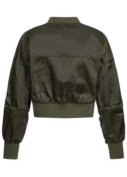 ONLY Damen Cropped Bomber Jacke Übergangsjacke ohne Taschen forest night oliv grün