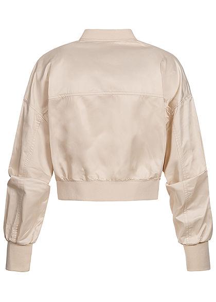 ONLY Damen Cropped Bomber Jacke Übergangsjacke ohne Taschen pumice stone beige