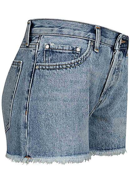 ONLY Damen Jeans Shorts 5-Pockets Fransen High Waist hell blau denim
