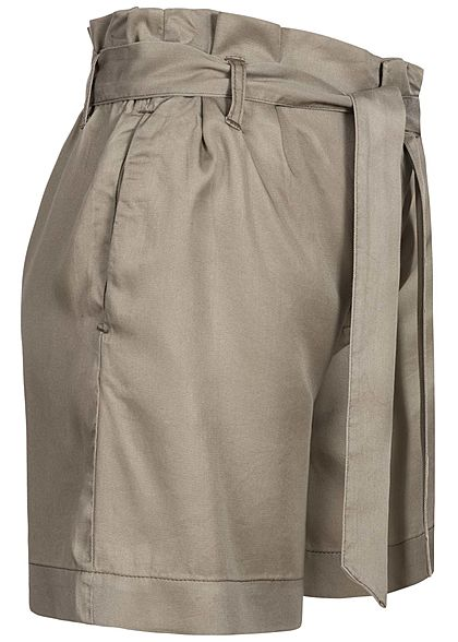 ONLY Damen Paperbag Shorts inkl. Bindegürtel 2-Pockets High Waist sage silber
