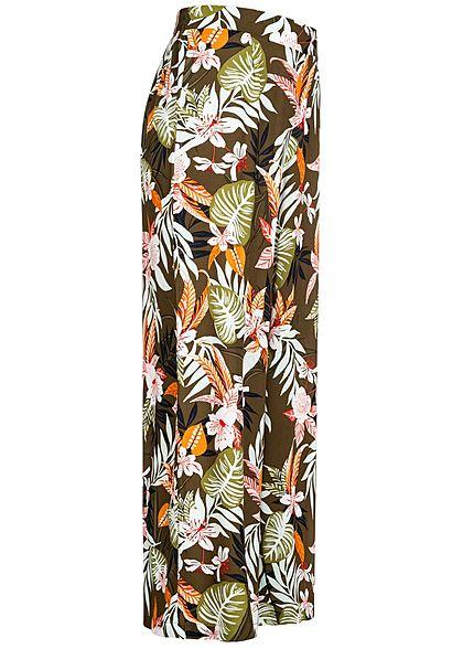 ONLY Damen 7/8 Culotte Stoffhose Tropical Print kalamata oliv grün