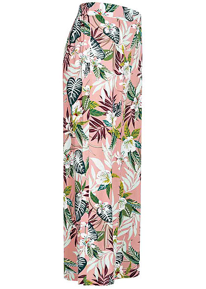 ONLY Damen 7/8 Culotte Stoffhose Tropical Print smoke rosa multicolor