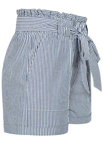ONLY Damen NOOS Paperbag Shorts inkl. Bindegürtel Streifen 2-Pockets medium blau