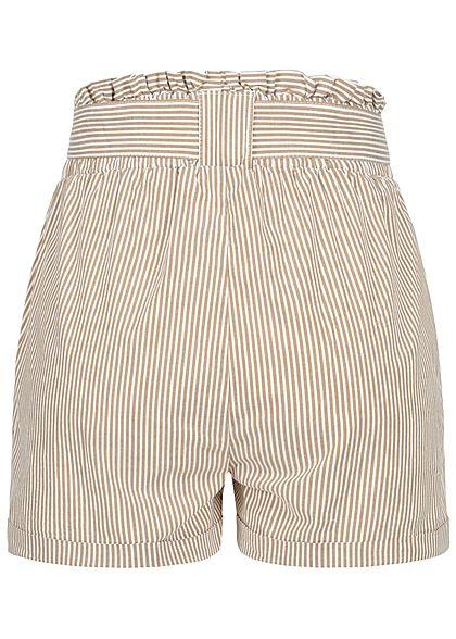 ONLY Damen NOOS Paperbag Shorts inkl. Bindegürtel Streifen 2-Pockets braun weiss
