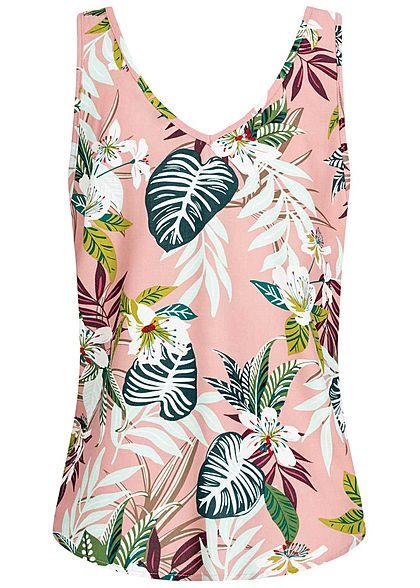 ONLY Damen V-Neck Top Tropical Print smoke rosa