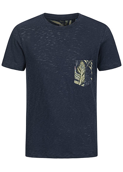 Jack and Jones Junior T-Shirt Canvas Look mit Tropical Print Brusttasche blazer navy blau