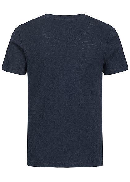 Jack and Jones Junior T-Shirt Canvas Look mit Tropical Print Brusttasche blazer navy blau