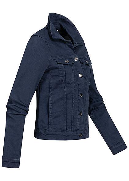 Tom Tailor Damen Riders Jeans Jacke Slim Fit 4-Pockets Knopfleiste real navy blau