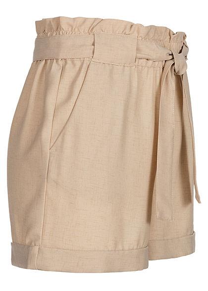 ONLY Damen Paperbag Shorts inkl. Bindegürtel High Waist 2-Pockets humus beige