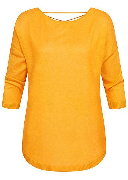 Seventyseven Lifestyle Damen 3/4 Arm Shirt mit Bändern am Rücken gold gelb