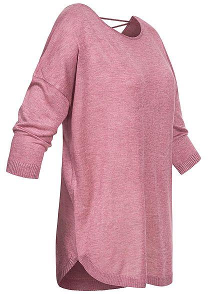Seventyseven Lifestyle Damen 3/4 Arm Shirt mit Bändern am Rücken dunkel rosa melange