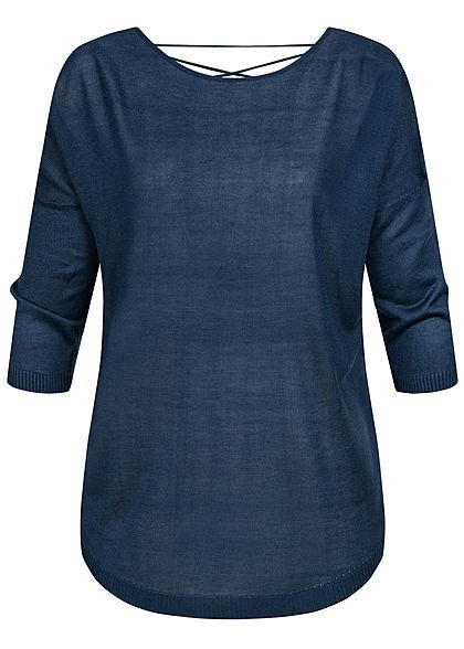 Seventyseven Lifestyle Damen 3/4 Arm Shirt mit Bändern am Rücken dunkel navy blau