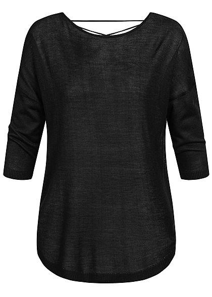 Seventyseven Lifestyle Damen 3/4 Arm Shirt mit Bändern am Rücken schwarz