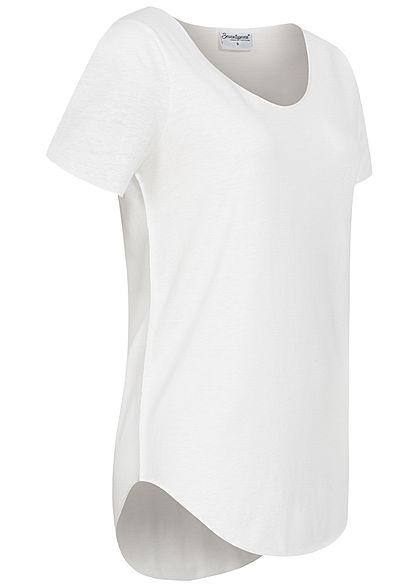 Seventyseven Lifestyle Damen Nappy Yarn T-Shirt Vokuhila schnee weiss