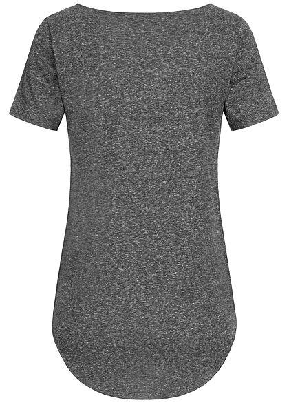 Seventyseven Lifestyle Damen Nappy Yarn T-Shirt Vokuhila dunkel grau melange