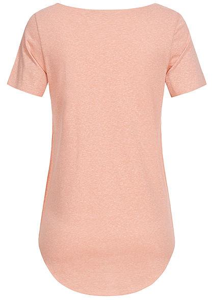 Seventyseven Lifestyle Damen Nappy Yarn T-Shirt Vokuhila rosa melange