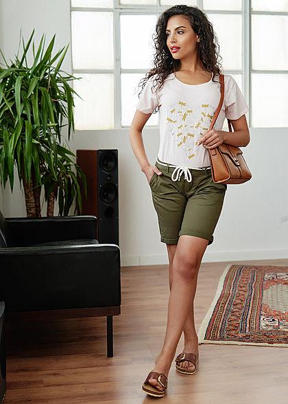 Seventyseven Lifestyle Damen T-Shirt Metallic Libellen Print old rosa