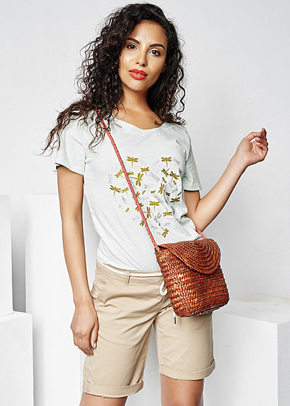 Seventyseven Lifestyle Damen T-Shirt Metallic Libellen Print grün