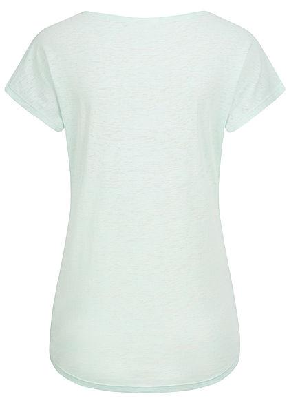 Seventyseven Lifestyle Damen Burnout T-Shirt Feder Print mint grün melange