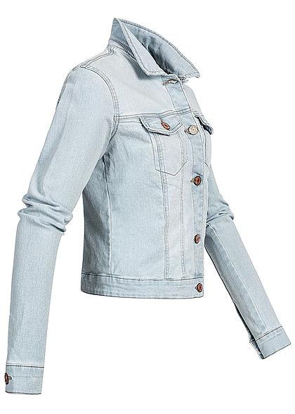 Seventyseven Lifestyle Damen Jeans Jacke Knopfleiste 4-Pockets hell blau denim
