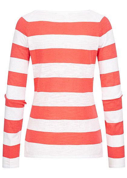 Seventyseven Lifestyle Damen 2-Tone Pullover Streifen Muster coral rot weiss