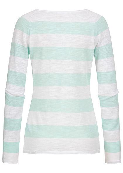 Seventyseven Lifestyle Damen 2-Tone Pullover Streifen Muster mint grün weiss