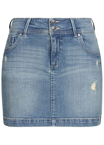 Seventyseven Lifestyle Damen Mini Jeans Rock Destroy Optik 5-Pockets medium blau denim