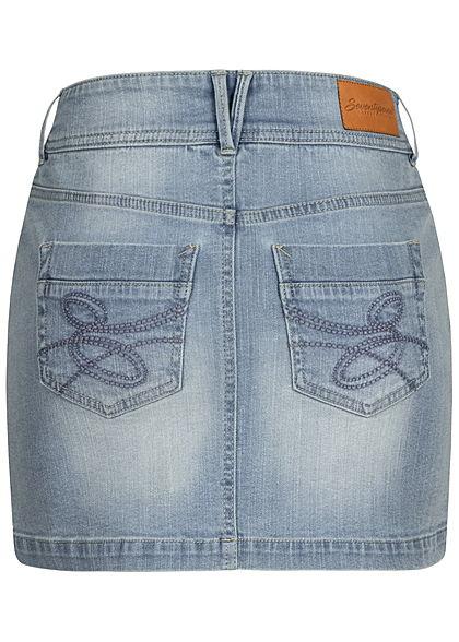 Seventyseven Lifestyle Damen Mini Jeans Rock 5-Pockets hell blau denim