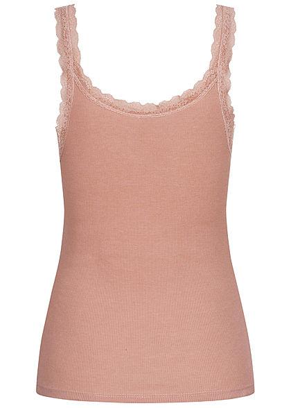 Seventyseven Lifestyle Damen Ribbed Spitzen Top Knopfleiste rosa
