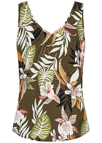 ONLY Damen V-Neck Top Tropical Print kalamata oliv grün multicolor