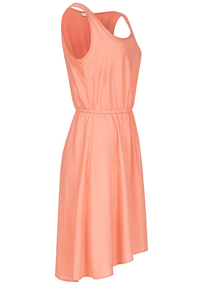 ONLY Damen Solid Kleid Taillen Gummizug Vokuhila terra cotta rose