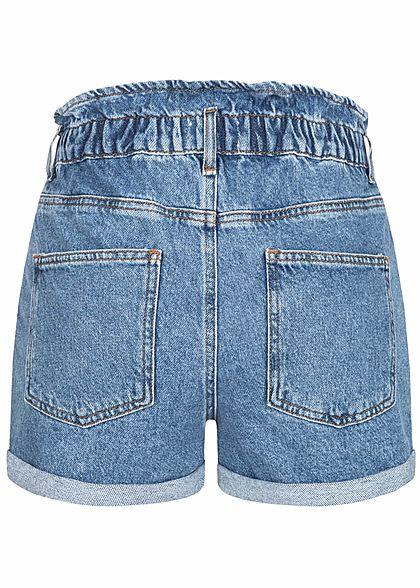 ONLY Damen NOOS Paperbag Denim Shorts 5-Pockets Knopfleiste medium blau