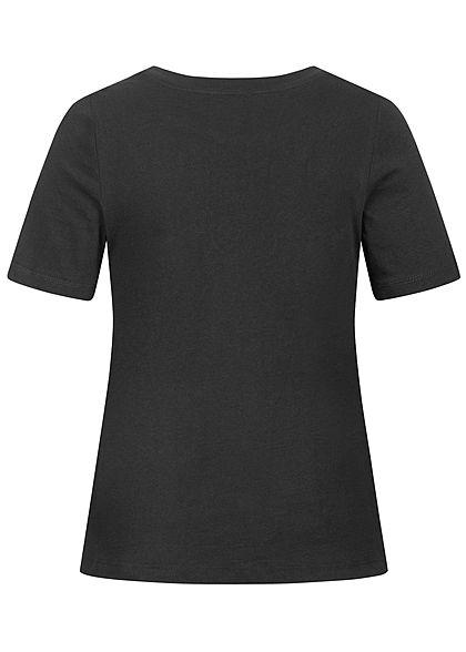 ONLY Damen T-Shirt Cut Out mit Stickerei schwarz