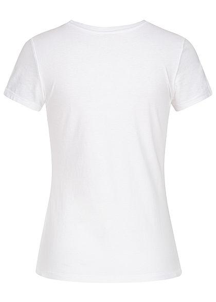 ONLY Damen T-Shirt Spielomat Print Glitzer Herzen bright weiss