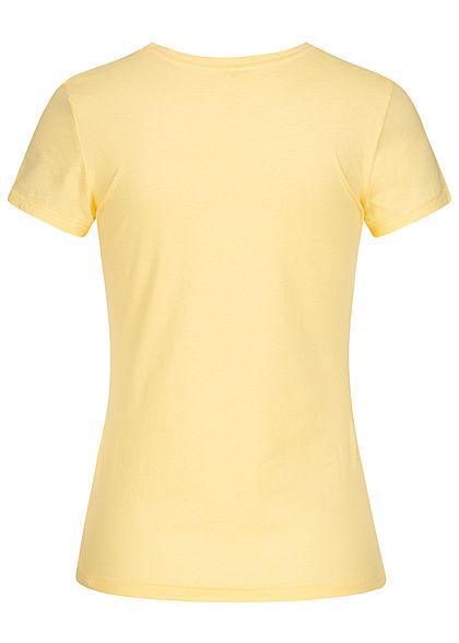 ONLY Damen T-Shirt The Game of Love Print Glitzer Herzen pineapple gelb