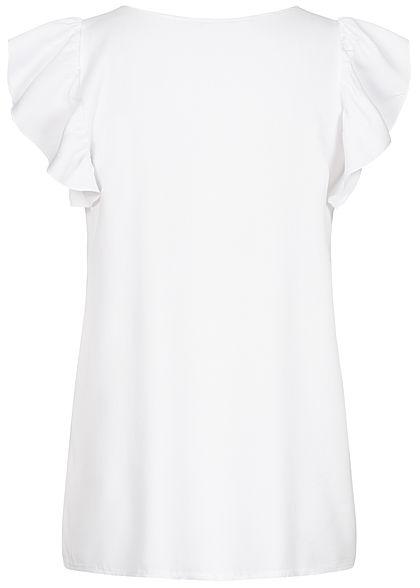 Hailys Damen V-Neck Frill Bluse mit Knopfleiste weiss