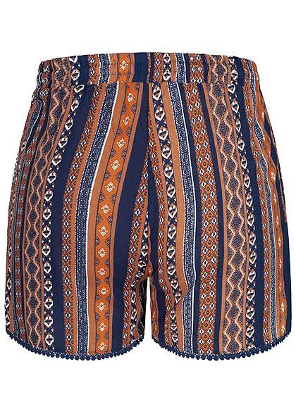 Hailys Damen Viskose Sommer Shorts Tunnelzug Ornament Print navy blau orange