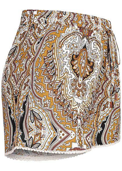 Hailys Damen Viskose Sommer Shorts Tunnelzug Paisley Print beige gelb