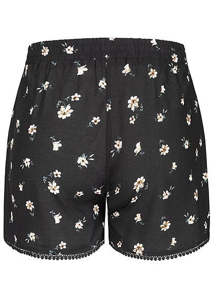 Hailys Damen Viskose Sommer Shorts Tunnelzug Blumen Print schwarz weiss