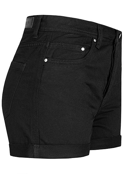 Hailys Damen High Waist Shorts 5-Pockets schwarz