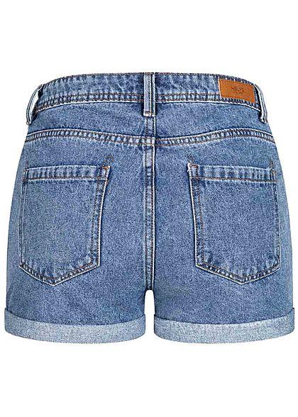 Hailys Damen High Waist Shorts 5-Pockets denim blau