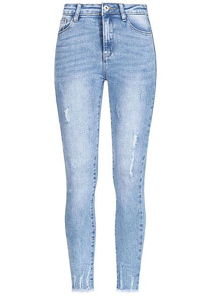 Hailys Damen Ankle Jeans Hose High Waist 5-Pockets Fransen Destroy Look denim blau