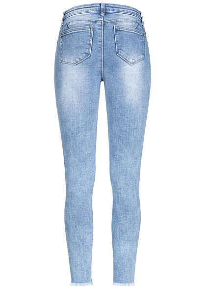 Hailys Damen Ankle Jeans Hose High Waist 5-Pockets Fransen Destroy Look denim blau