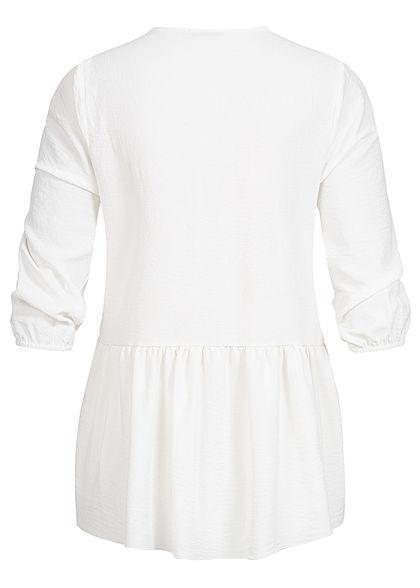Hailys Damen 3/4-Arm V-Neck Bluse Knopfleiste Oversize weiss