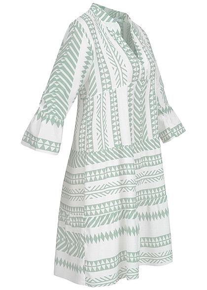 Hailys Damen 3/4-Arm V-Neck Puffer Kleid Azteken Print Volantärmel jade grün weiss