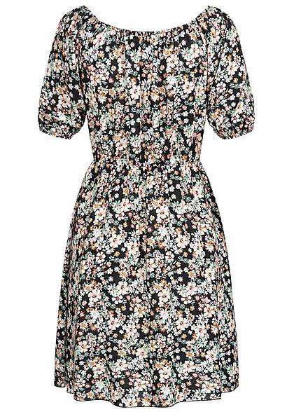 Hailys Damen 1/2-Arm V-Neck Mini Kleid Blumen Print schwarz multicolor